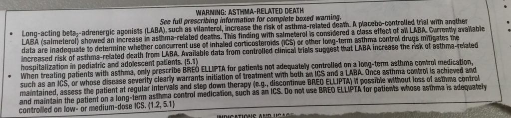 Black Box Warning for Asthma Medications 2003 - 2017
